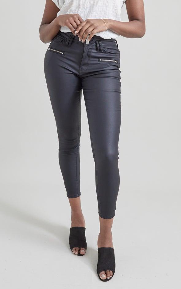 Hi Rise Coated Skinny Jeans Black
