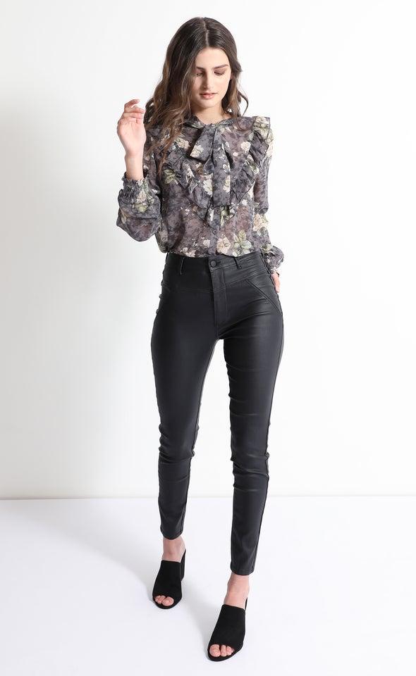 Hi Rise Skinny Coated Jeans