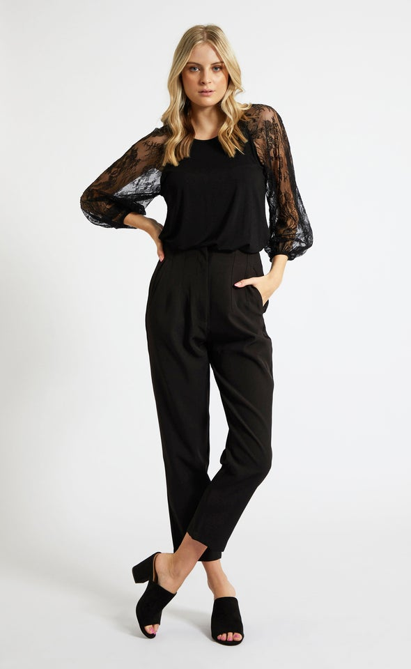 High Rise Tapered Pant Black