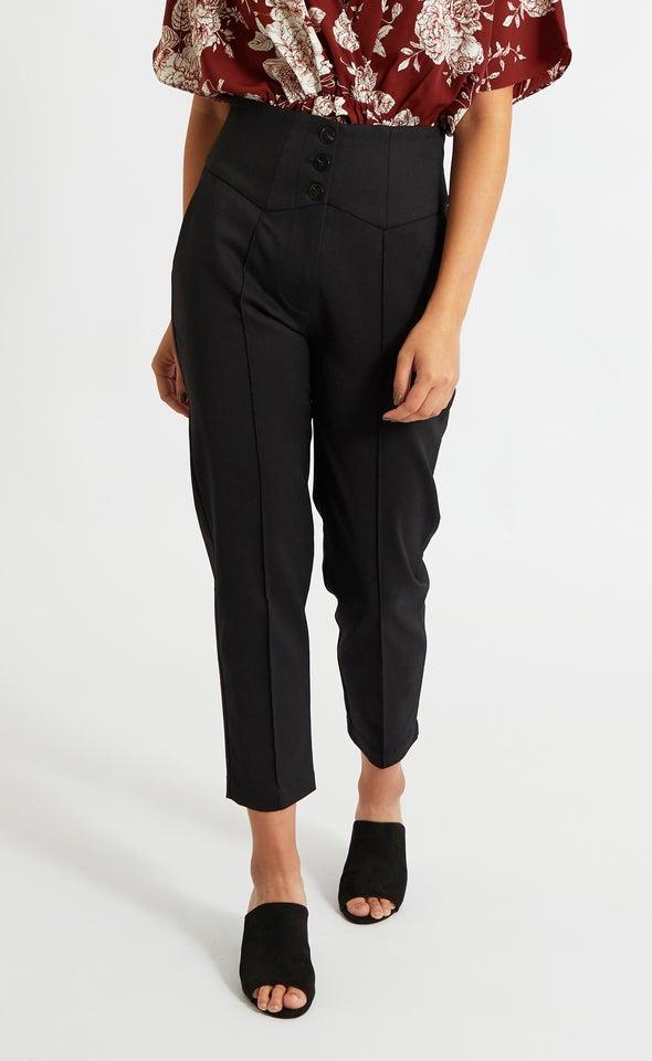 High Waist Button Trim Pants Black