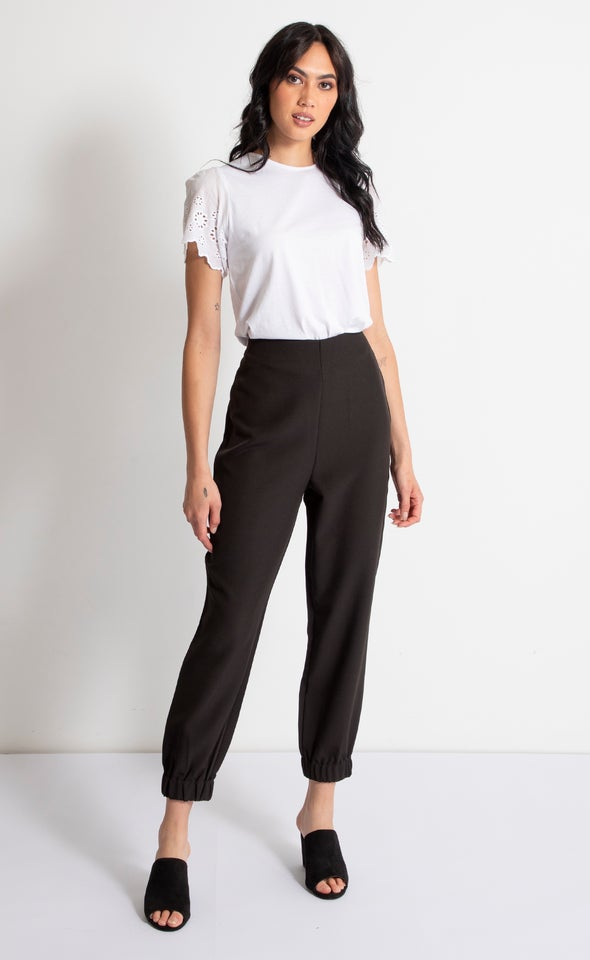 High Waist Elastic Cuffed Pants