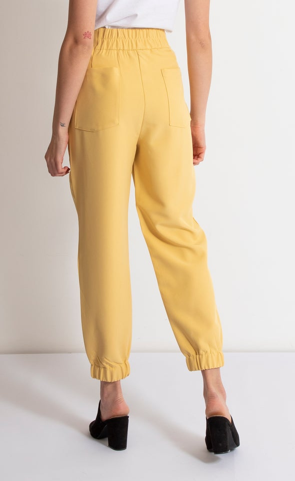 High Waist Elastic Cuffed Pants Sunshine