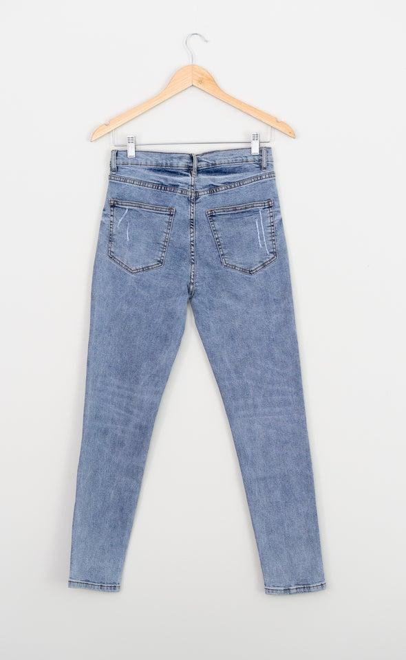 High Waist Straight Jeans Light Blue