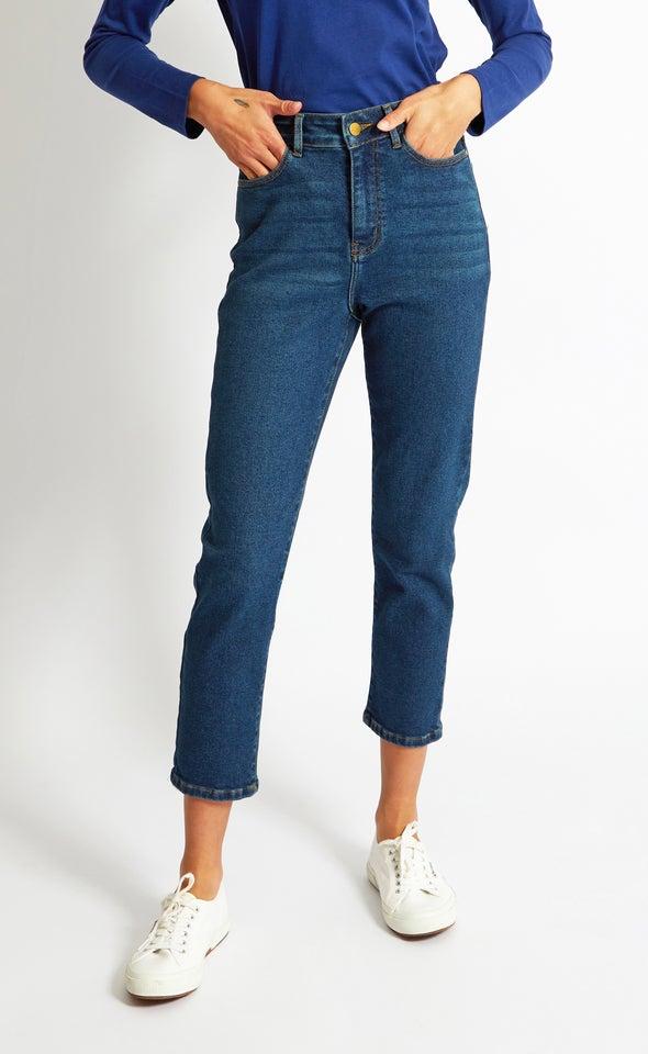 High Waist Straight Leg Jean Indigo