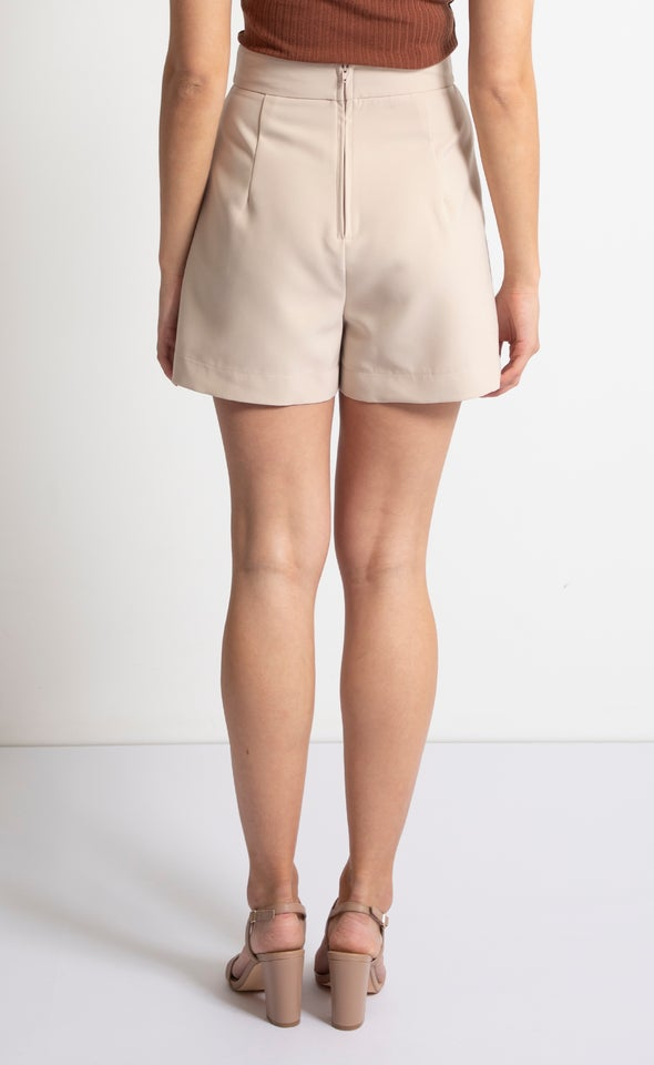 High Waist Tailored Shorts Taupe
