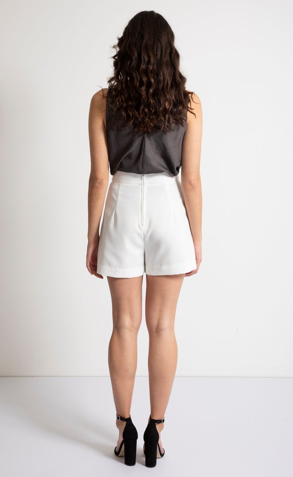 High Waist Tailored Shorts White