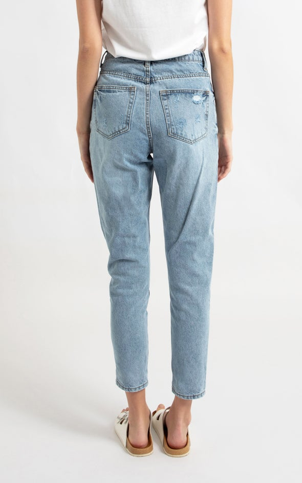 High Waist Tapered Fit Jean Blue