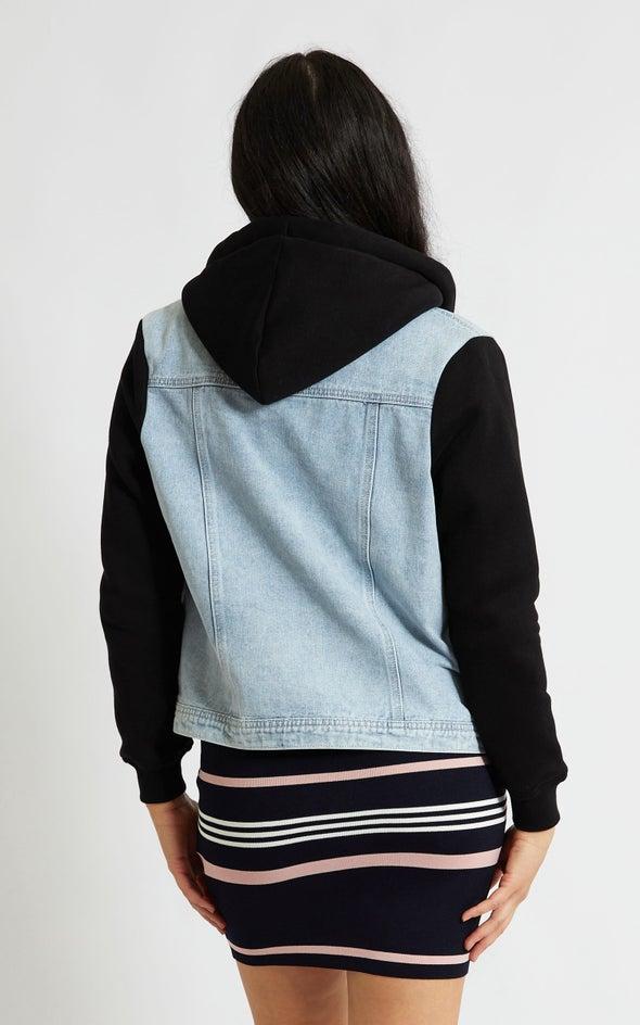 Hooded Denim Jacket Blue