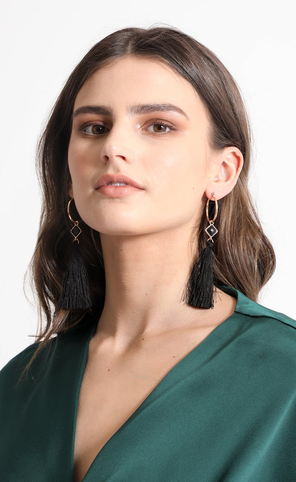 Hoop Tassel Drop Earrings