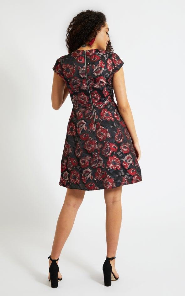 Jacquard Cap Sleeve Dress Black/red