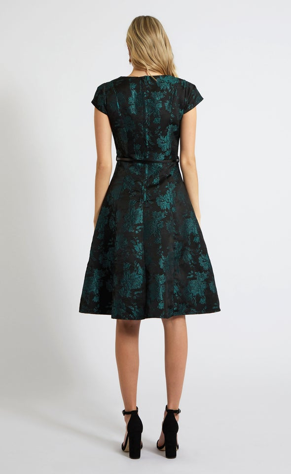 Jacquard Panel Detail A Line Dress Black/emerald