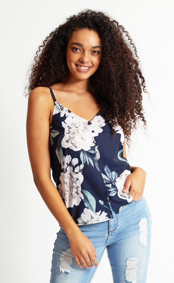 Jersey Back Floral Button Tank