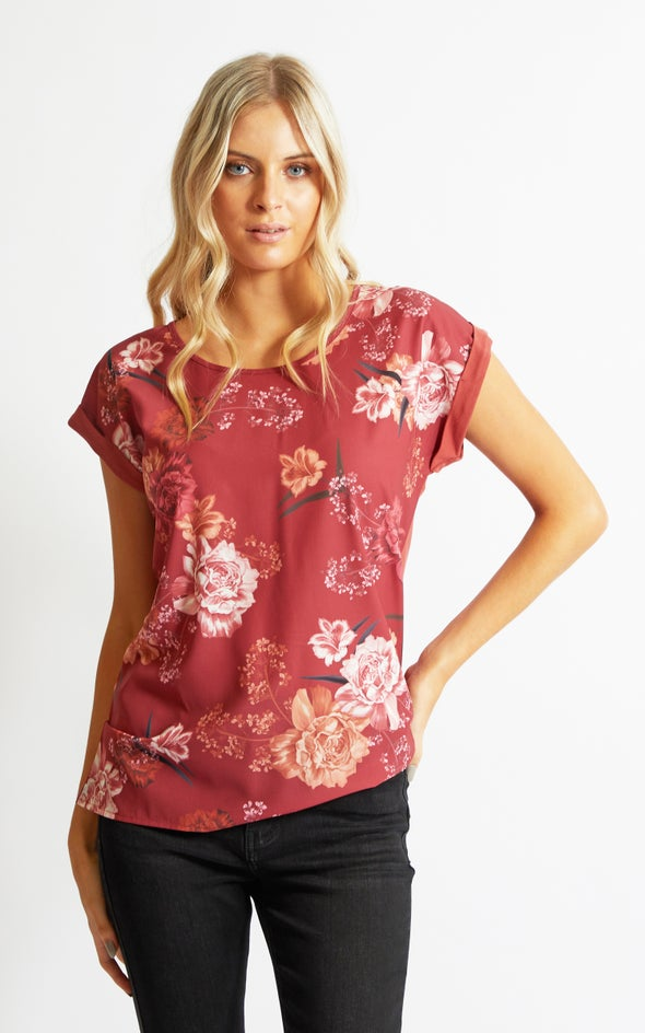 Jersey Back Floral Top Maroon Floral