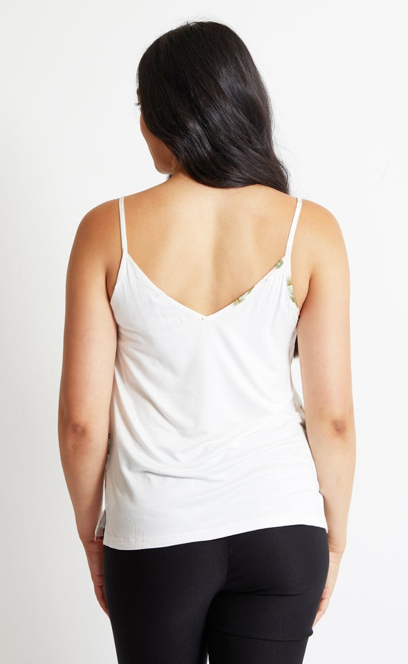 Jersey Back Printed Cami Top Cream Floral