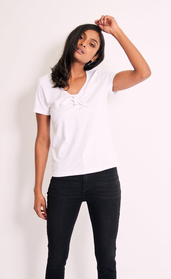 Jersey Bow Detail Top White