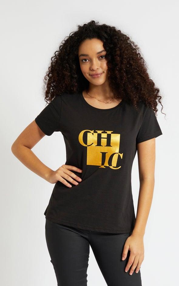 Jersey Chic Foil Print Tee Black