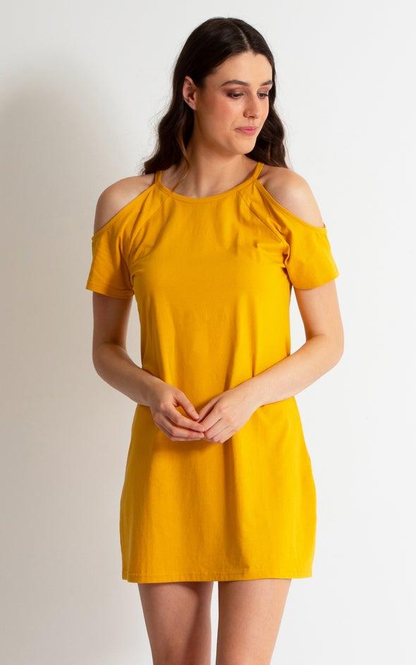 Jersey Cold Shoulder Tee Dress Ochre