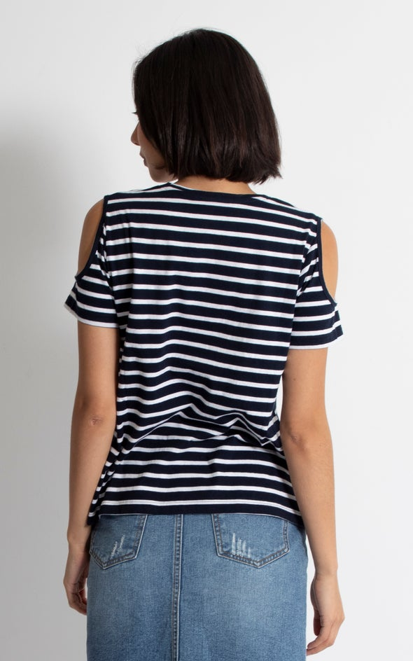 Jersey Cold Shoulder Tee Navy/white