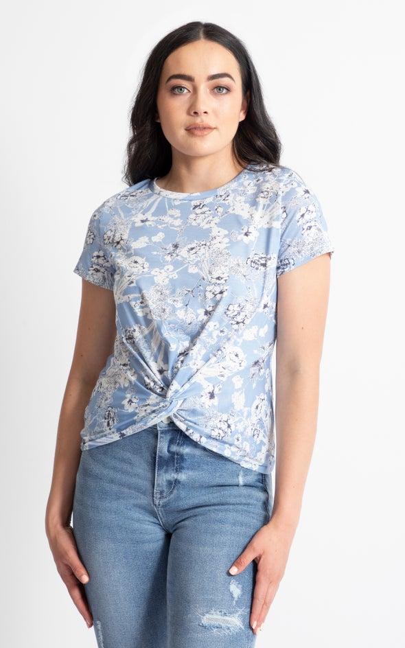 Jersey Floral Twist Front T-Shirt Cornflower Floral