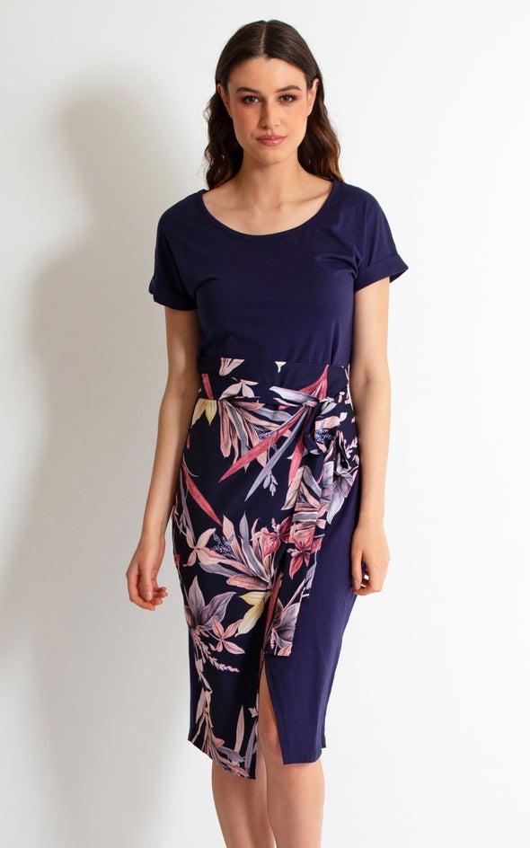 Jersey Floral Wrap Detail T-Shirt Dress Navy/floral