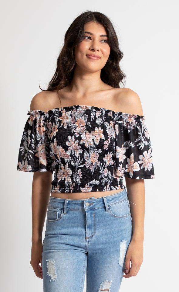 Jersey Flutter Sleeve Shirred Top Black Floral