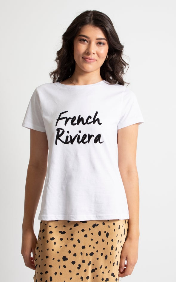 Jersey French Riviera Print Tee White