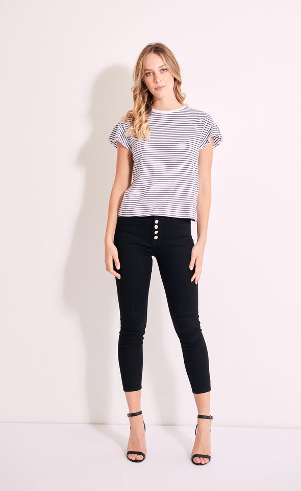 Jersey Frill Sleeve Top White/navy