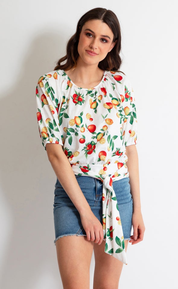 Jersey Fruit Print Puff Sleeve Top White Floral
