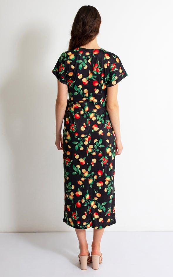 Jersey Fruit Print Wrap Maxi Black Floral