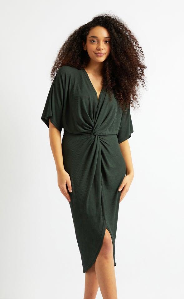 Jersey Kimono Sleeve Dress Khaki
