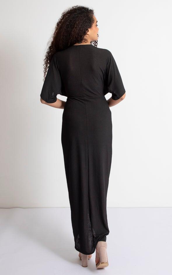 Jersey Kimono Sleeve Gown Black