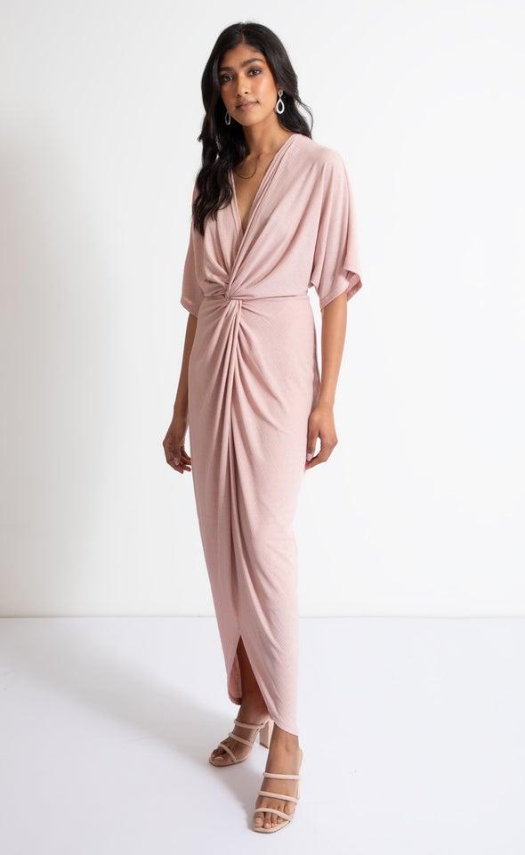Jersey Kimono Sleeve Gown Blush