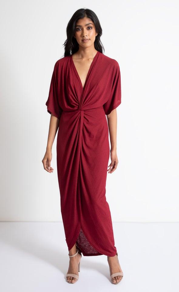 Jersey Kimono Sleeve Gown Maroon