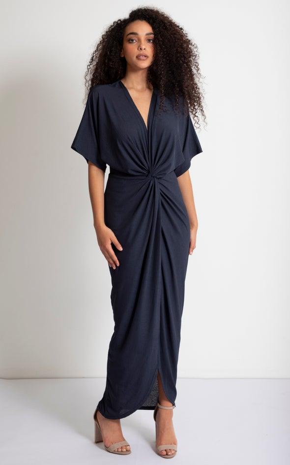 Jersey Kimono Sleeve Gown Navy
