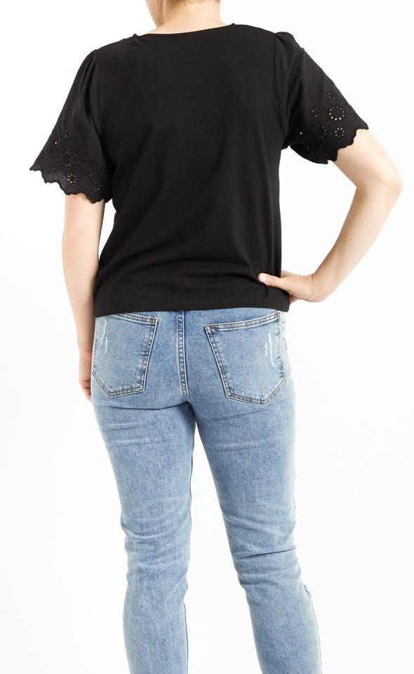 Jersey Lace Sleeve Tee Black