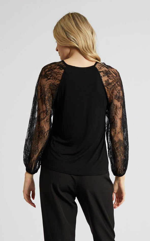 Jersey Lace Sleeve Top Black