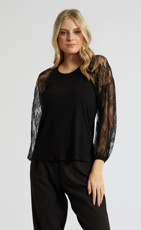 Jersey Lace Sleeve Top