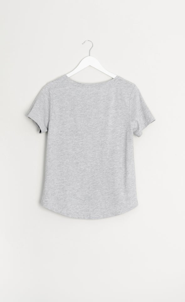 Jersey L'Amour Print Tee Grey Marle
