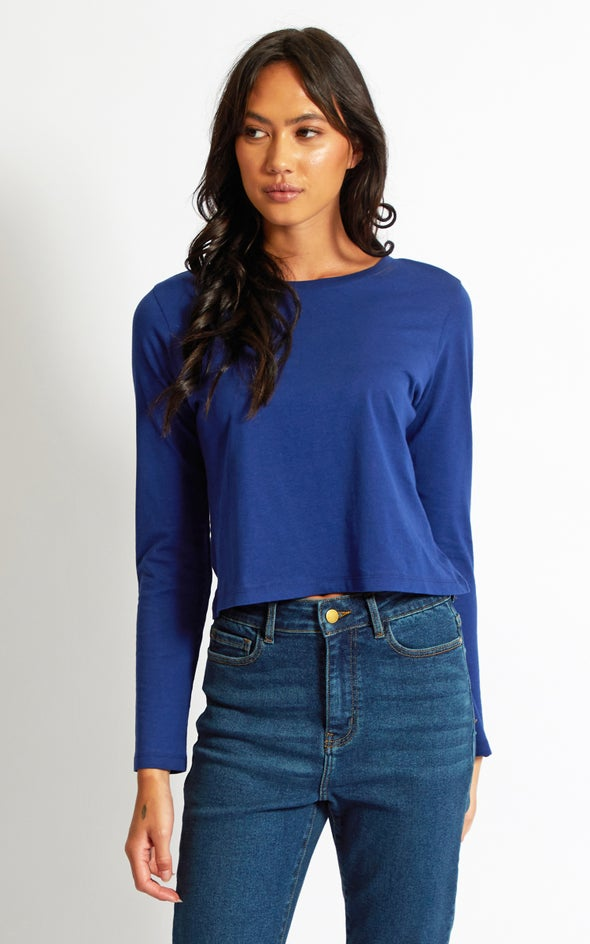 Jersey LS Cropped Tee Navy