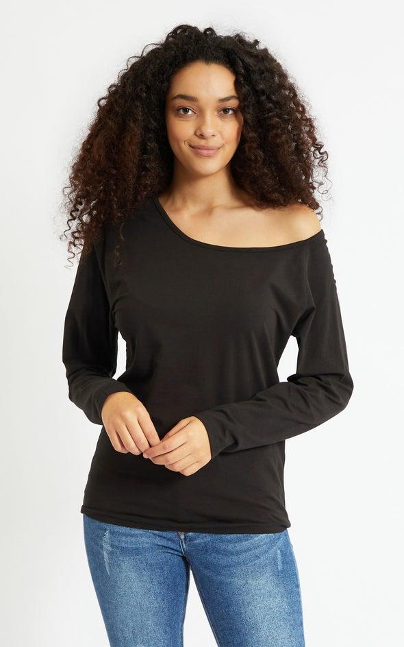 Jersey Off Shoulder Slouch LS Top Black