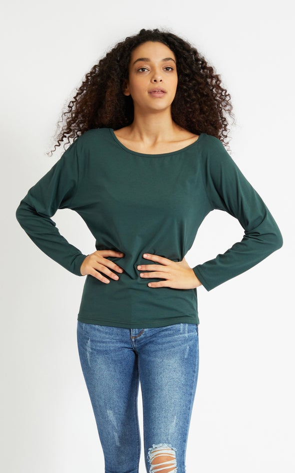 Jersey Off Shoulder Slouch LS Top Forest Green