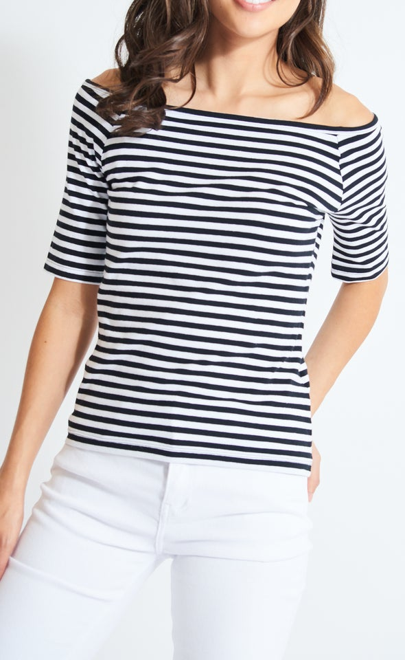 Jersey Off The Shoulder Top White/black