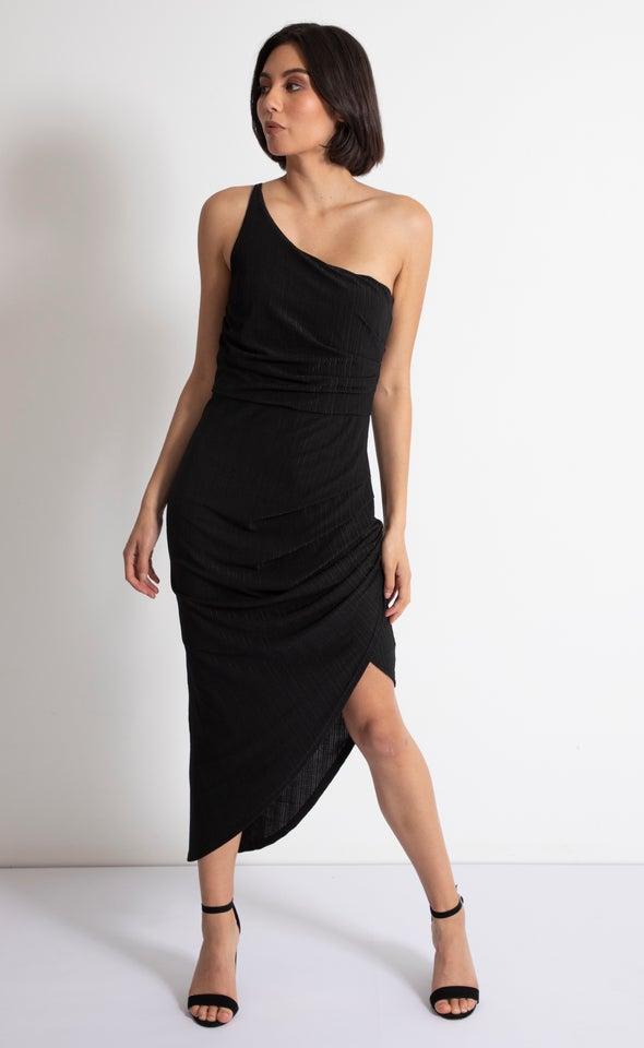 Jersey One Shoulder Gown Black