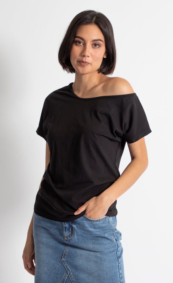 Jersey One Shoulder Slouch Tee Black