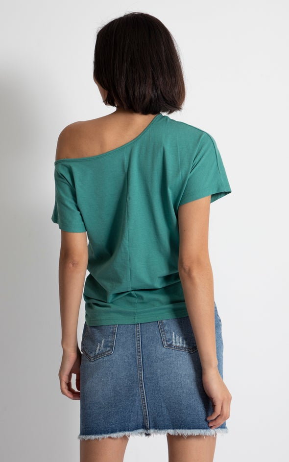 Jersey One Shoulder Slouch Tee Emerald