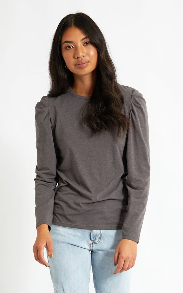 Jersey Puff Shoulder LS Top Charcoal Marle