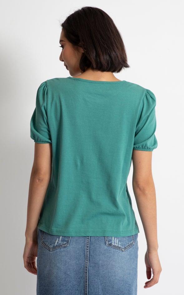 Jersey Puff Sleeve Tee Emerald