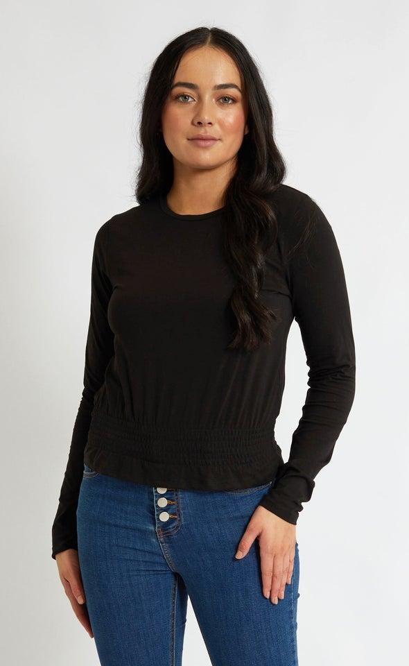 Jersey Shirred Waist Tee Black