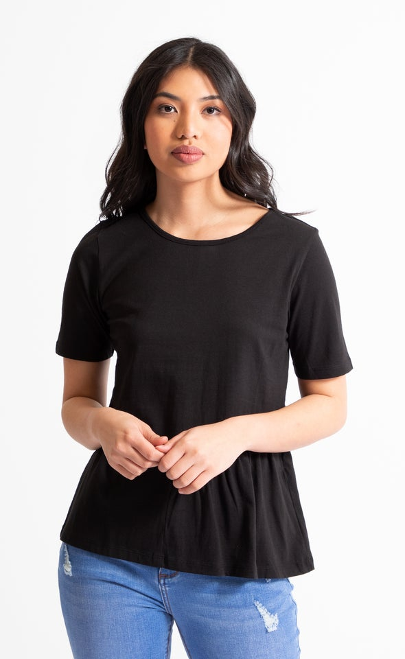 Jersey Side Frill Detail Top Black