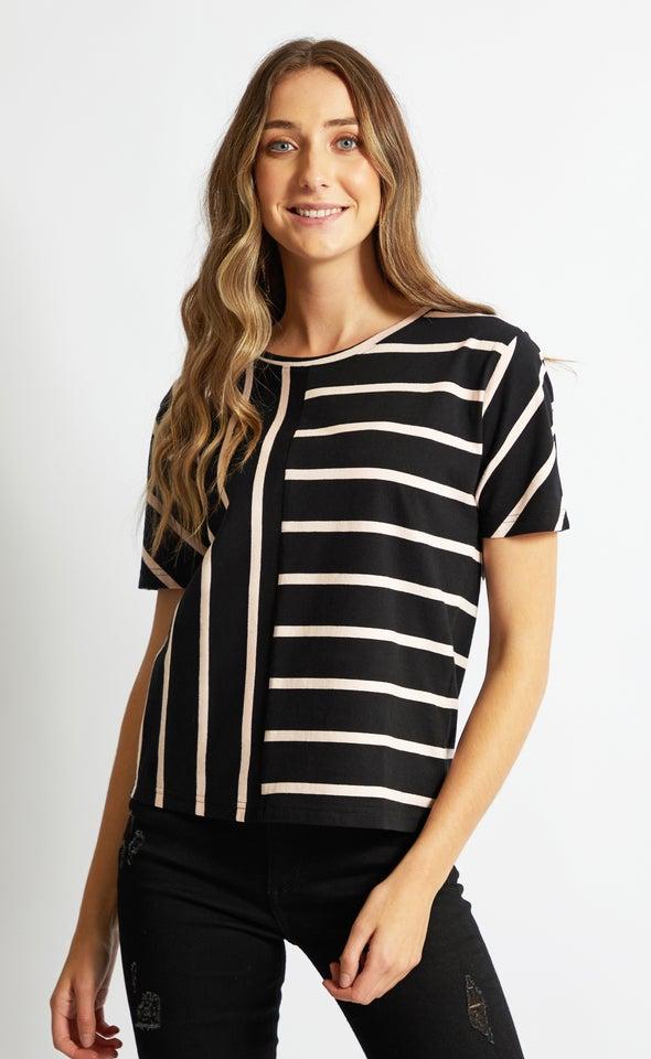 Jersey Split Stripe Boxy Tee Black/blush